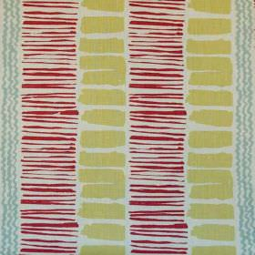 Saltaire - Red Aqua Green Rustic - Fabric made from off-white 100% linen printed with wiggly stripes, thin lines and rectangles in grey, lig