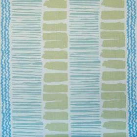 Saltaire - Cornflower Aqua Green Oyster - Putty coloured rectangles printed with wiggly stripes and thin lines in two bright shades of blue