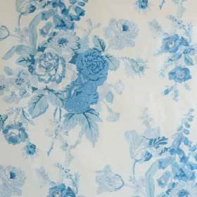 Grenville - Blue On Glazed Chintz - Classic floral patterns printed in light and bright sky shades of blue on white fabric made from 100% co