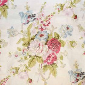 Grenville - Pink On Glazed Chintz - Floral patterned fabric made from 100% cotton, featuring a classic design in light pink, cream, green an