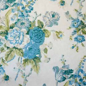Grenville - Blue Green On Glazed Chintz - Sky blue, powder blue, light green and white coloured 100% cotton fabric, printed with an elegant