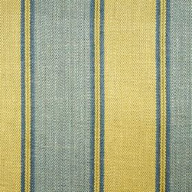 Launceston Stripe - Blue Green - Light shades of golden yellow and denim blue making up a vertical stripe pattern on viscose, cotton and lin