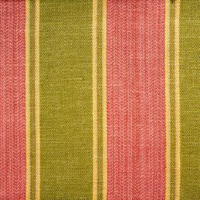 Launceston Stripe - Rose Green - Viscose, cotton and linen blend fabric woven with vertical stripes in raspberry, olive green and rich wafer