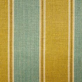 Launceston Stripe - Olive Aqua - Stripes made in pale grey, green-gold and marine blue woven into fabric made with a viscose, cotton and lin