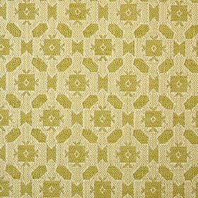 Lowell - Lime - Small olive green coloured geometric shapes arranged repeatedly on a light beige 100% cotton fabric background
