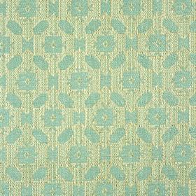 Lowell - Aqua - Fabric made from 100% cotton, featuring a small, simple, repeated geometric pattern in powder blue and silvery grey
