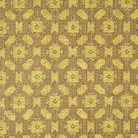 Lowell - Aubergine Lime - Small, simple, repeated geometric shapes made in lime green patterning chocolate brown coloured 100% cotton fabric