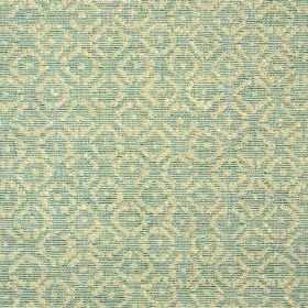 Albemarle - Aqua - Duck egg blue and cream-grey coloured fabric made from rayon, cotton and linen, woven with a small, repeated design