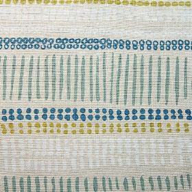 Saybrook - Blue Aqua Lime - Short dashed lines and rows of dots patterning 100% linen fabric in pale grey, marine blue, navy blue, white and oli
