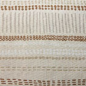 Saybrook - Brown Taupe Grey - Pale grey fabric made from 100% linen, with a white, stone and chestnut coloured design of rows of dots and da