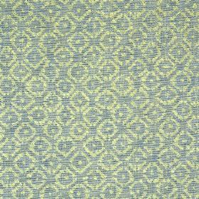 Albemarle - Blue Green - Fabric made from rayon, cotton and linen, featuring a small, simple, repeated pattern in cream and light blue