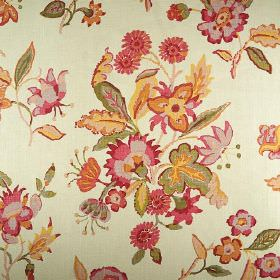 Hadleigh - Pink - Bright orange, light green, dark pink and warm yellow coloured florals patterning 100% linen fabric made in cream