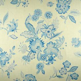 Hadleigh - Blue - Pretty floral designs patterning a background of off-white 100% linen fabric in light and bright shades of blue