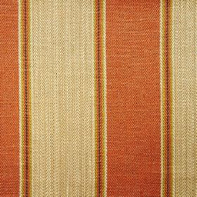Launceston Stripe - Orange - Vertically striped fabric made from viscose, cotton and linen in terracotta, gold and light latte brown colours
