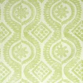 Damask - Lime - Light shades of grey and green making up a 100% linen fabric featuring a design of dots, diamonds, patterns and wavy lines