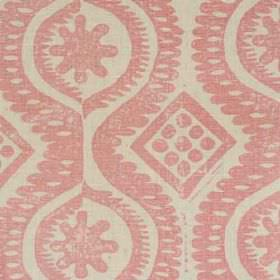 Damask - Pink - Dots, wavy lines, diamonds and patterns printed on fabric made entirely from linen in light shades of grey and pink