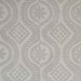 Damask - Pale Taupe - Two different shades of grey making up a patterned wavy line, dot and diamond print on fabric made entirely from lkine