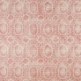 Diamond - Red On Natural - A patchy white design of small circles, dots and ovals printed on a dark pink linen and polyamide fabric backgrou