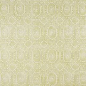 Diamond - Lime On Natural - Pale green and white coloured linen and polyamide blend fabric, featuring patchily printed circles, ovals and do