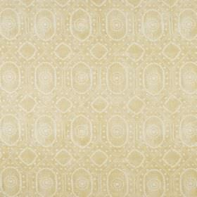 Diamond - Gold On Natural - Light gold coloured linen and polyamide blend fabric behind a patchily printed design of white dots, circles and
