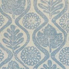 Oakleaves - Blue - Large leaves, stylised flowers and wavy lines printed in denim blue on cement grey coloured 100% linen fabric