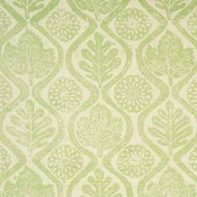 Oakleaves - Lime - A background of very light grey coloured 100% linen fabric, behind leaves, stylised flowers and wavy lines in light green
