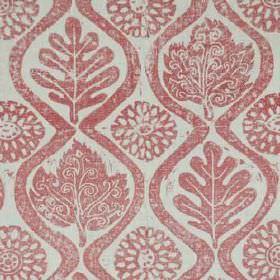 Oakleaves - Pink - Fabric made from light red and grey coloured 100% linen, printed with wavy lines, patterned leaves and stylised flowers