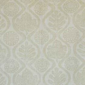 Oakleaves - Beige - A subtle pattern of leaves, wavy lines and stylised flowers printed in two light shades of grey on 100% linen fabric