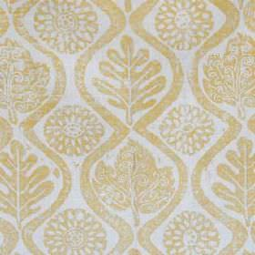 Oakleaves - Natural Yellow - Pale cloud grey coloured 100% linen fabric printed with wavy lines, stylised flowers and patterned leaves in li