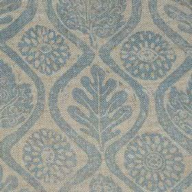 Oakleaves On Oatmeal Linen - Blue - 100% linen fabric featuring a patterned leaf, wavy line and stylised floral design in light shades of bl