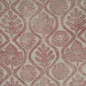 Oakleaves On Oatmeal Linen - Pink - Fabric made from light mulberry and grey coloured 100% linen, patterned with stylised flowers, wavy line