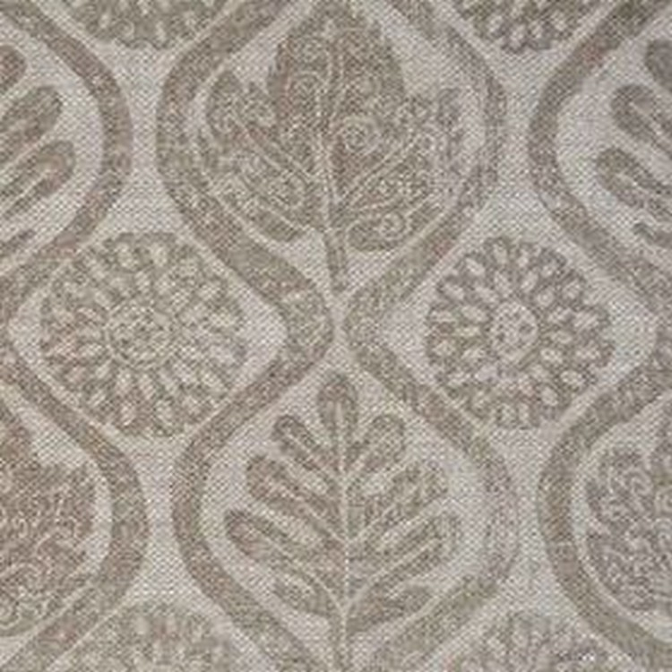 Oakleaves On Oatmeal Linen - Taupe - Patterned leaves, wavy lines and stylised flowers arranged on 100% linen fabric in two different shades