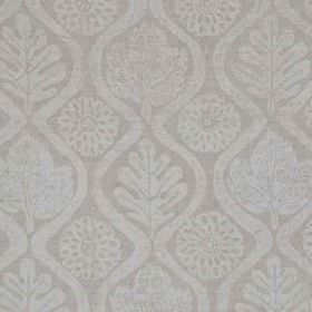 Oakleaves On Oatmeal Linen - Off White - Very pale grey wavy lines, stylised flowers and patterned leaves printed on 100% linen fabric in a
