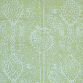 Beasties - Lime - An icy blue coloured design of birds and pretty patterns printed on a pale green coloured 100% linen fabric background