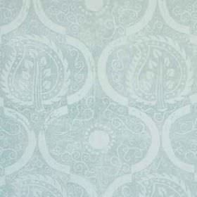Persian Leaf - Aqua - Subtle swirls, arcs and patterned leaves printed repeatedly on fabric made from 100% linen in two light shades of blue