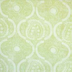 Persian Leaf - Lime - Light green fabric made from 100% linen, featuring a repeated design of patterned leaves, arcs and subtle swirls in whit