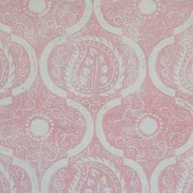 Persian Leaf - Pink - Fabric made from 100% linen in light grey and candy pink, repeatedly printed with swirls, arcs and stylish, patterned leav