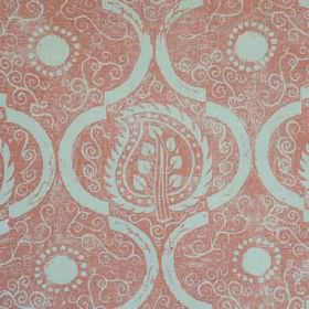 Persian Leaf - Coral - Cloud grey coloured circles, swirls, arcs and patterned leaves printed on a light red 100% linen fabric background