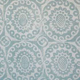 Pineapple - Aqua On Oyster - A simple design of swirls and stylised flowers printed repeatedly on 100% linen fabric in light shades of blue