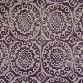 Pineapple - Aubergine On Rustic - 100% linen fabric printed with a repeated design of swirling circles and stylised flowers in pale grey and dar