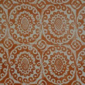 Pineapple - Pumpkin On Rustic - Fabric made from 100% linen, featuring swirling circles and stylised flowers in light grey and deep rust col
