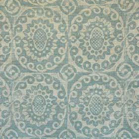 Pineapple - Aqua On Oatmeal - Light shades of grey and blue making up a simple, repeated design of swirls and stylised flowers on 100% linen