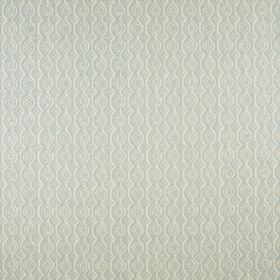 Small Damask - Aqua On Natural - Very subtly patterned milk white coloured fabric made from linen and polyamide, featuring rows of circles a