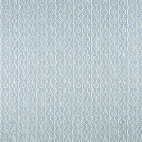 Small Damask - Deft Blue On Oyster - Wavy lines and small circles arranged in rows, subtly patterning light baby blue coloured linen and pol