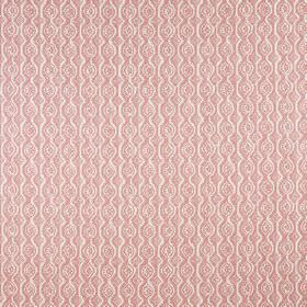 Small Damask - Pink On Oyster - Fabric made from linen and polyamide in light candy pink, with wavy lines and rows of circles creating a sub