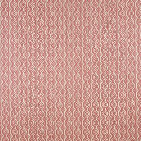Small Damask - Red On Natural - Subtle, elegant patterns of wavy lines and rows of circles arranged on dark pink fabric made from linen and