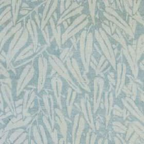 Willow - Aqua - Long, simple leaf designs printed in very pale blue on a plain light blue 100% linen fabric background