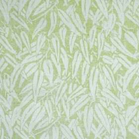 Willow - Lime - Icy blue and light green coloured fabric made entirely from linen, featuring a fun design of long, simple leaves