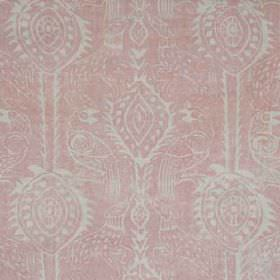 Beasties - Pink - 100% linen fabric made in light shades of grey and pink, printed with a subtle design of birds and pretty, delicate patterns