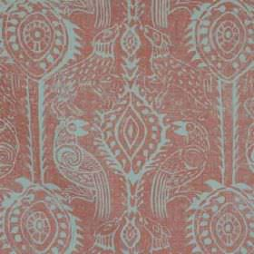 Beasties - Coral - 100% linen fabric patterned with bird shapes and pretty designs in light shades of red and sky blue